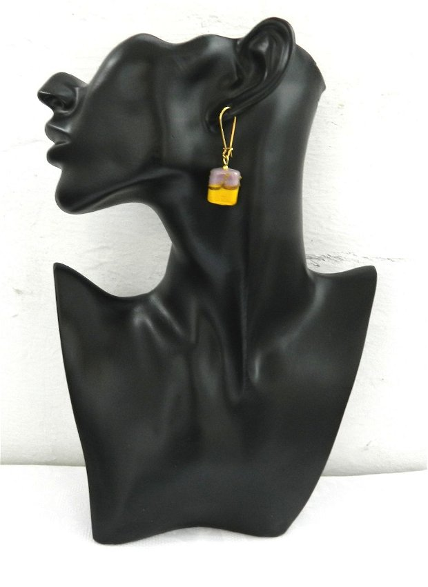 Cercei sticlă lampwork galben-lila