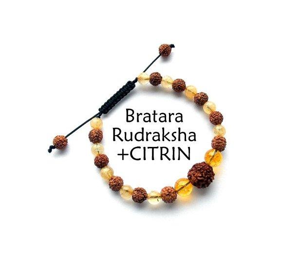 Bratara Rudraksha+CITRIN*Bratara reglabila
