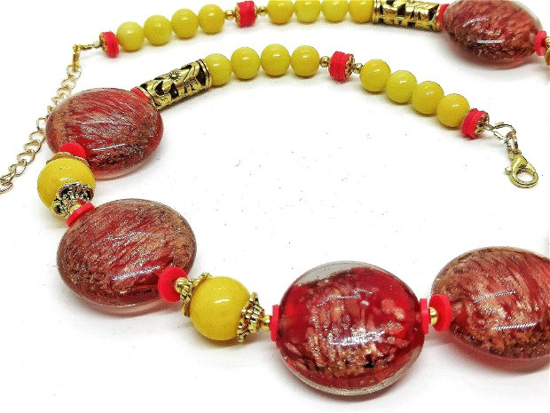 Colier red -yellow /lampwork si jad