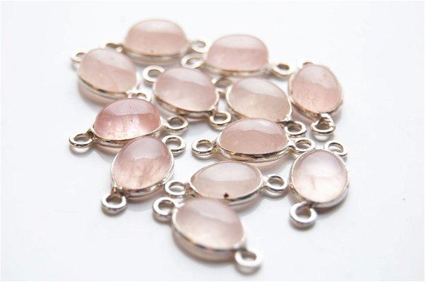 Link quartz roz pal in rama  de alama argintata  -1 buc