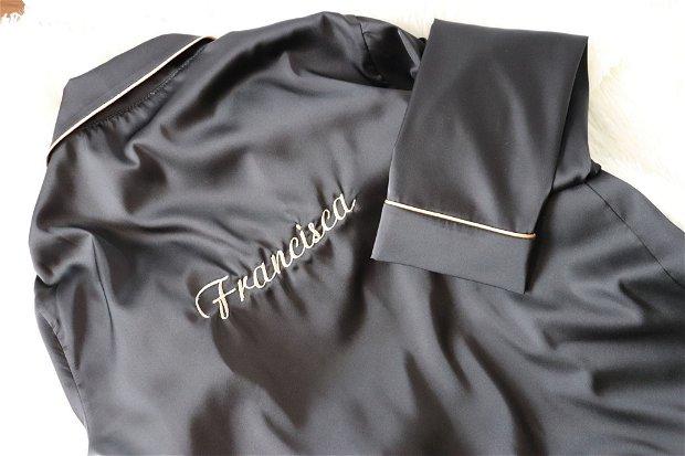 Pijama neagră, scurta, de damă, din satin matăsos - personalizabilă
