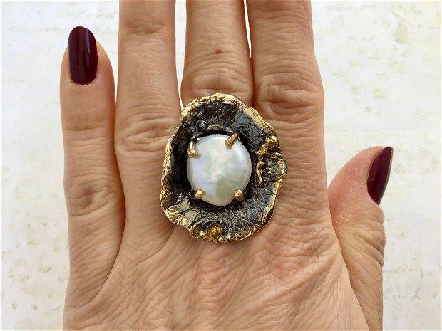Inel alama placate cu aur si rodium & perle Biwa