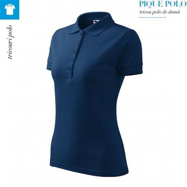 Tricou midnight blue polo dama, Pique Polo