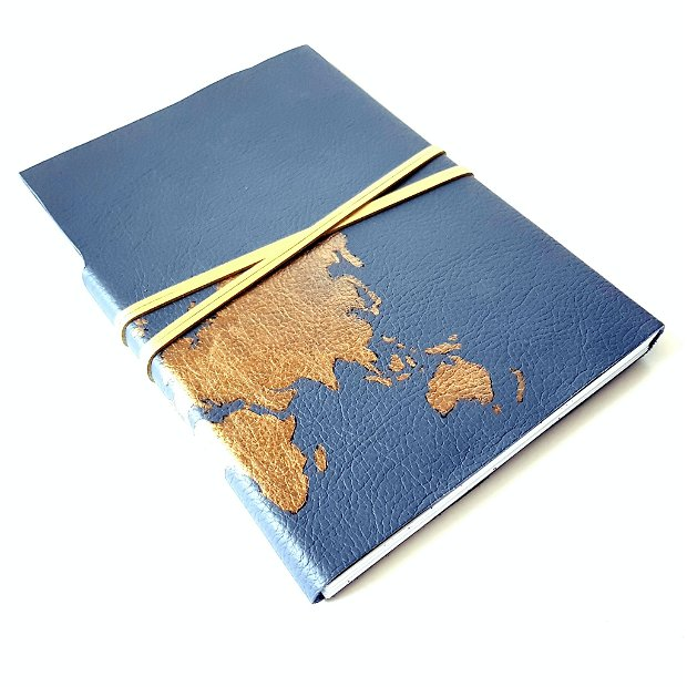 Jurnal (mare) de călătorie cu harta lumii -AURIU- Jurnal de călătorie cu copertă de piele naturală albastru petrol