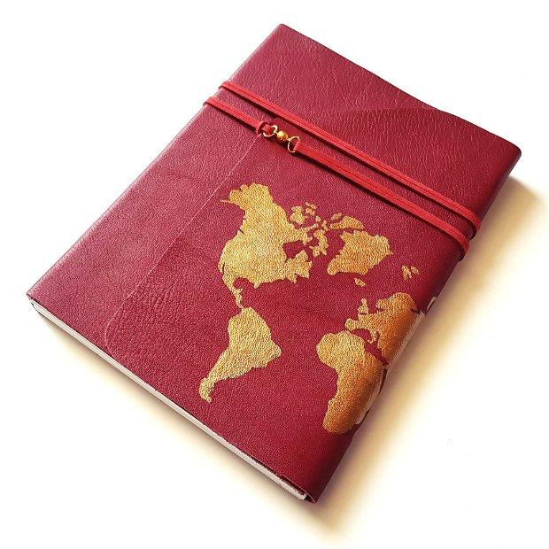Jurnal (mare) de călătorie cu harta lumii -AURIU- Jurnal de călătorie cu copertă de piele naturală roșu bordo