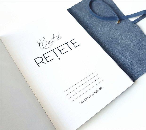 Caiet de rețete CHEF cu copertă de piele naturală albastră