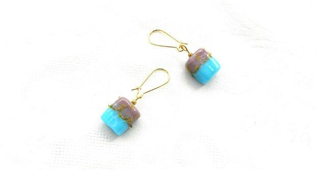 Cercei sticlă lampwork bleu-lila