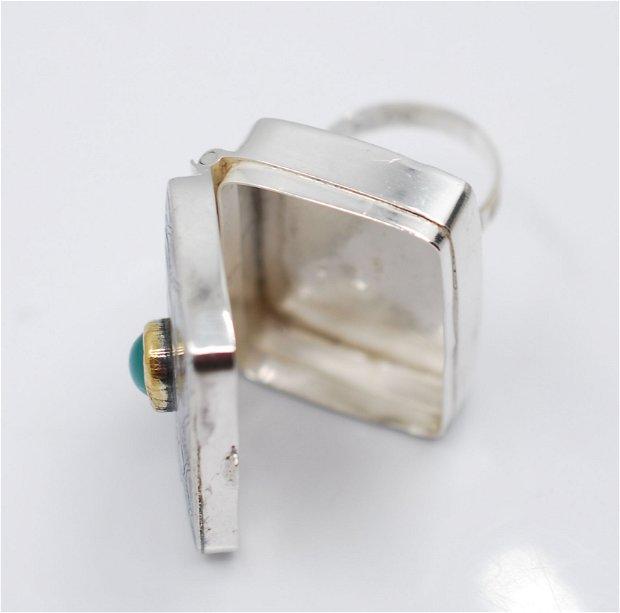 Inel cutiuta din argint 925 si calcedonie, inel statement, inel mare