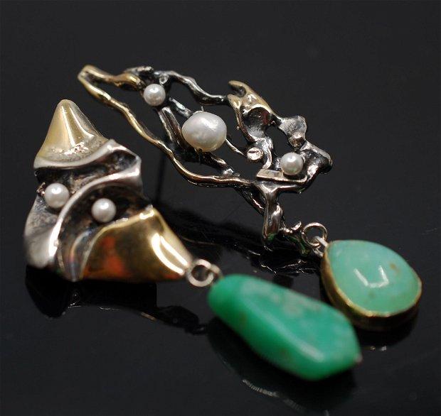 Cercei din argint 925, cu crisopraz si perle de cultura, placati selectiv cu aur