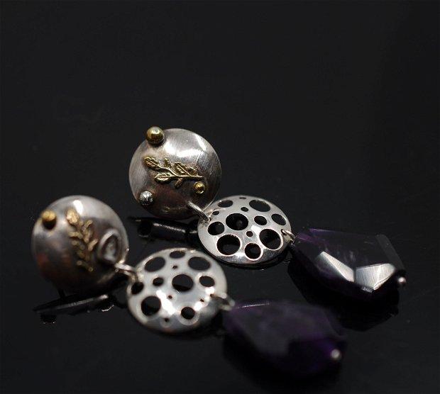 Cercei din argint si  ametist, cercei lungi argint, cercei statement, cercei handmade