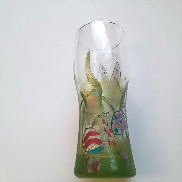 Pahar din sticla pictat cu iepuras