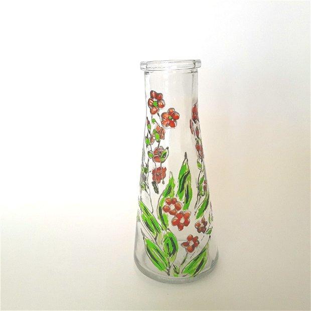 Vaza decorativa din sticla pictata cu flori de cires