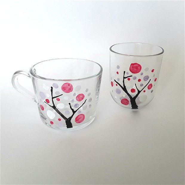 Set ceasca si pahar pictate cu copacul vietii
