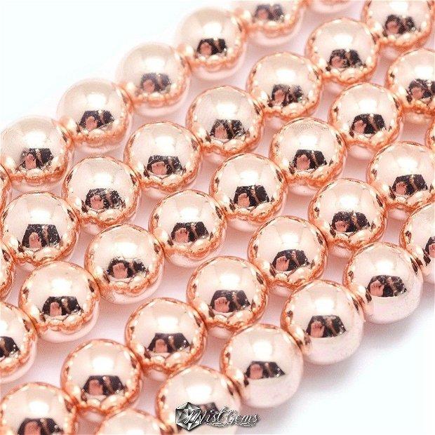 10 buc.Hematit sfere electroplacate,culoare aur roz-6mm SP307