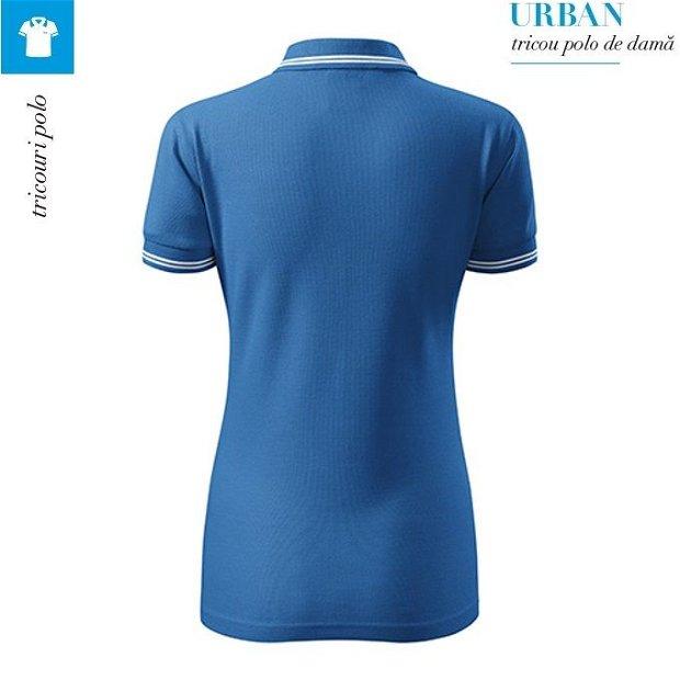 Tricou albastru azuriu polo dama, Urban