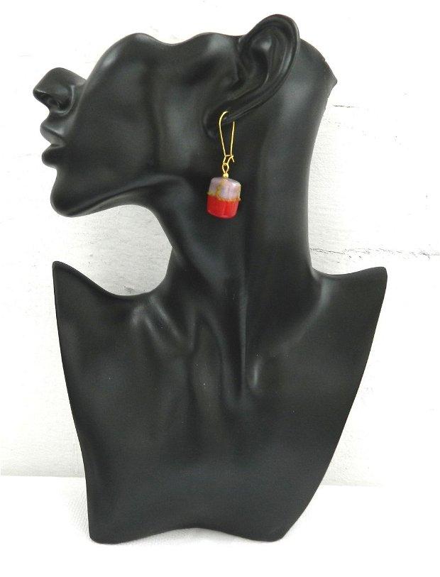Cercei sticlă lampwork roşu-lila