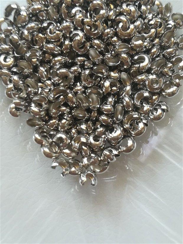 Acoperitor crimp, argintiu, 4mm, - 1 buc