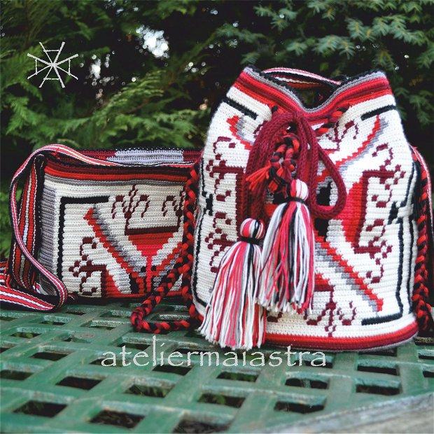 set genti handmade crosetate ornamentate cu motivul popular din Transilvania aripile rotilor de moara