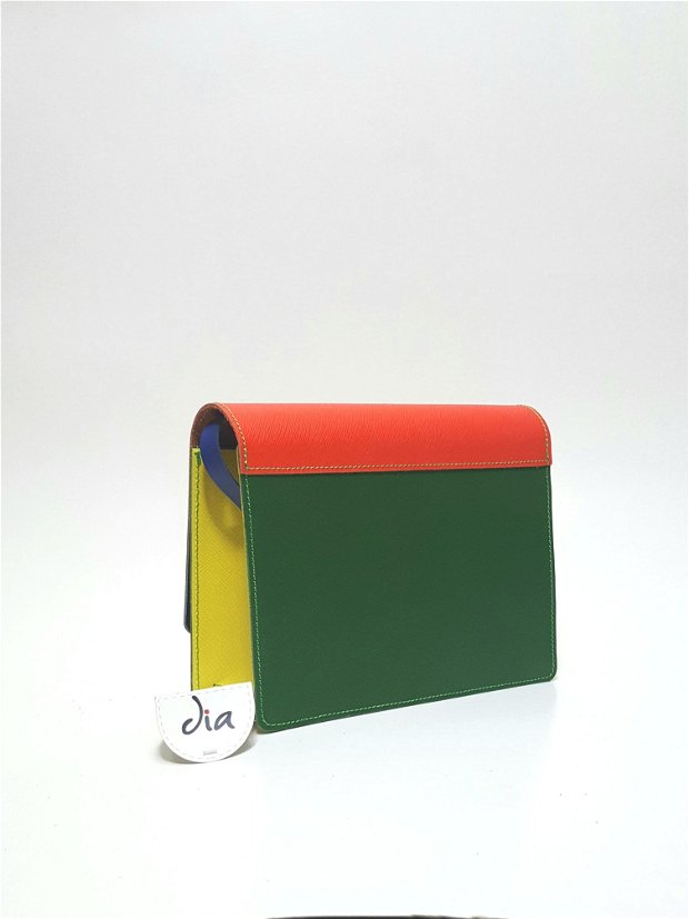 Geanta miniona, din piele naturala, multicolora