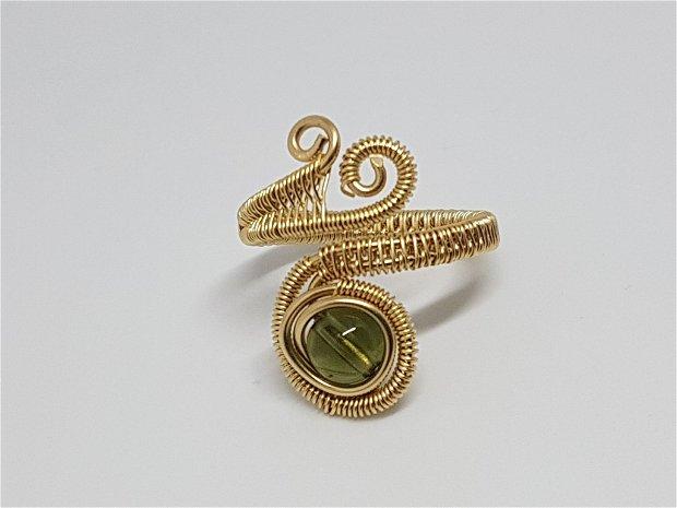 Inel reglabil, inel cu moldavit , inel din aur filat