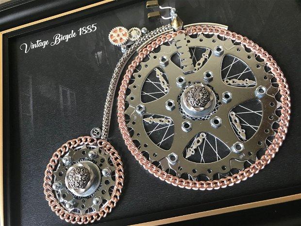 Tablou Bicicleta vintage 1885 Cod M 521, Cadouri zile de nastere, Mecanism de ceas vintage, Piese de ceas