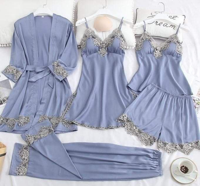 Set Pijama Saten 5 piese/diverse culori