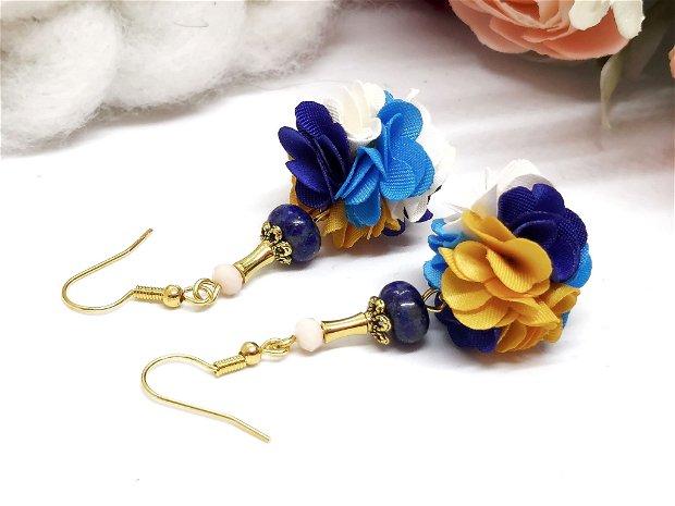 Cercei floral -bleumarin-galben
