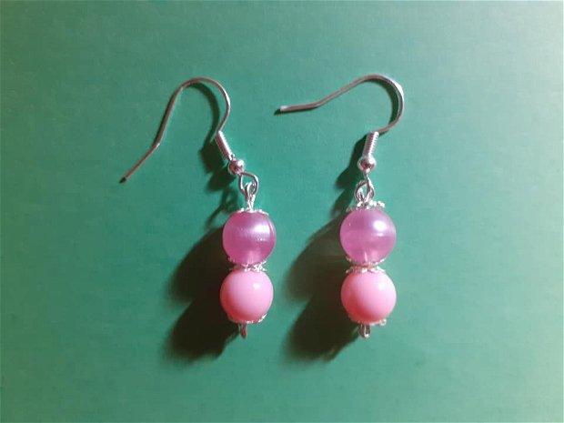 cercei roz handmade