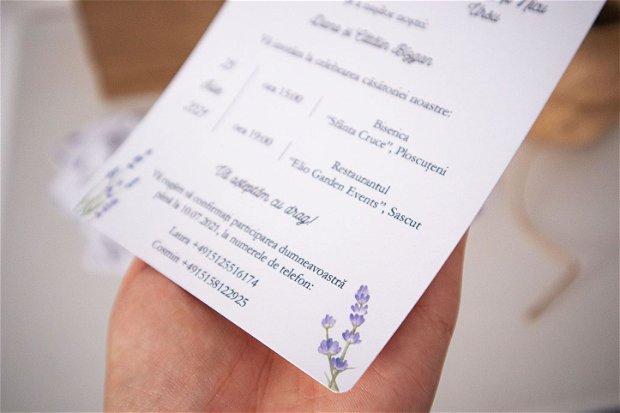 Invitatie nunta Gloria cu lavanda, invitatie rustica, invitatie kraft