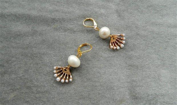 Cercei cu perle naturale ivoire şi evantaie cu perluţe mini