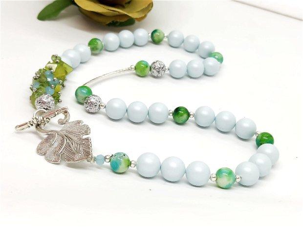 Colier perle swarovski,peridot si jad /blue pastel