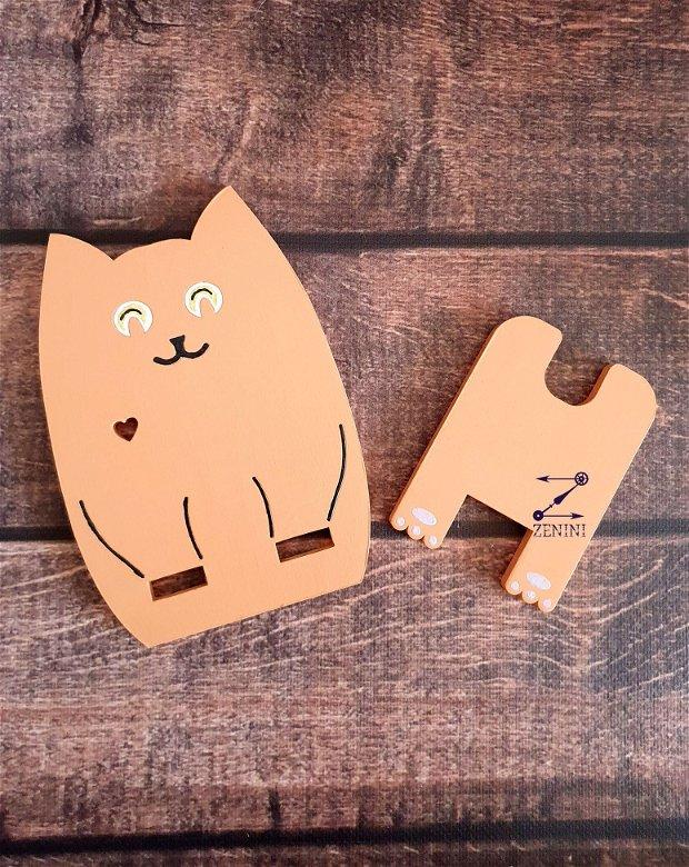 Suport telefon pisica, suport telefon lemn, suport birou pisica
