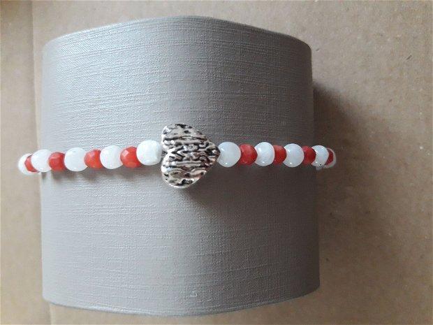 Brățară elastica cu pietre semipretioase piatra lunii cu coral si argint