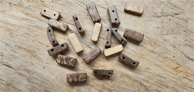 Margele/conectori lemn cocos, 2 gauri, 12x6 mm (10 buc)