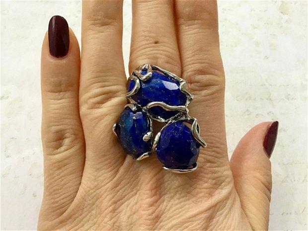 Inel zamac argintat & lapis lazuli