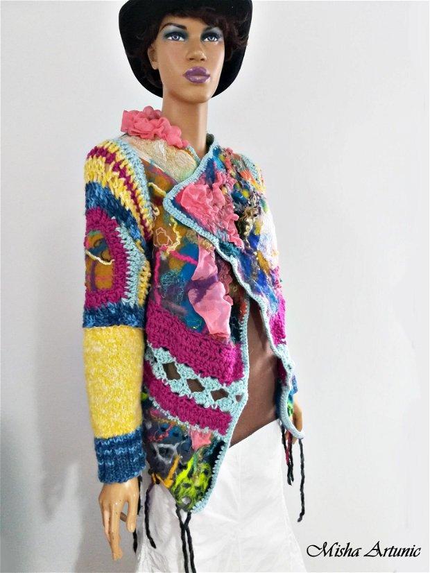 Jacheta impaslita, crosetata, tricotata