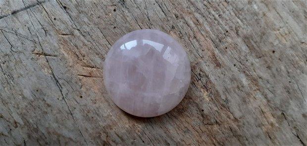 Cabochon cuart roz, 30 mm