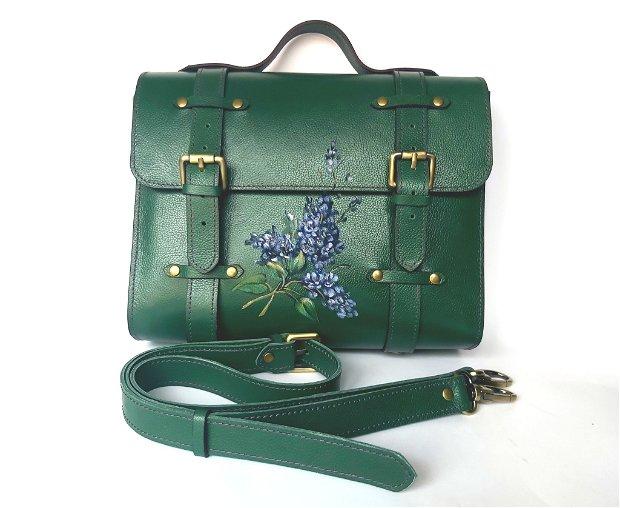 Geanta piele  verde Liliac