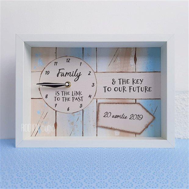 Ceas personalizat cu mesaj pictat manual family