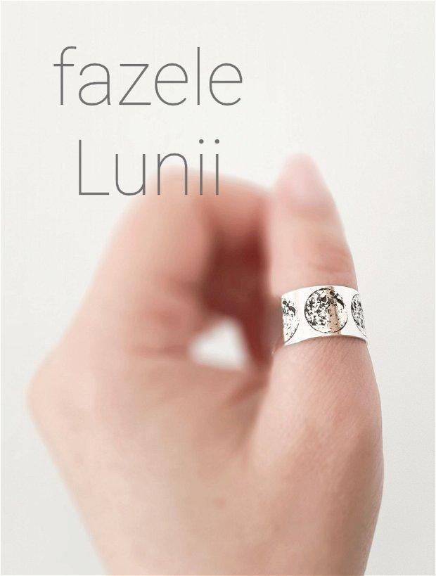 Inel/verighetă reglabilă din argint cu Fazele Lunii