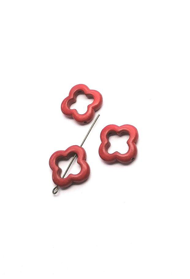 Margele distantier link floare 20mm * rosu