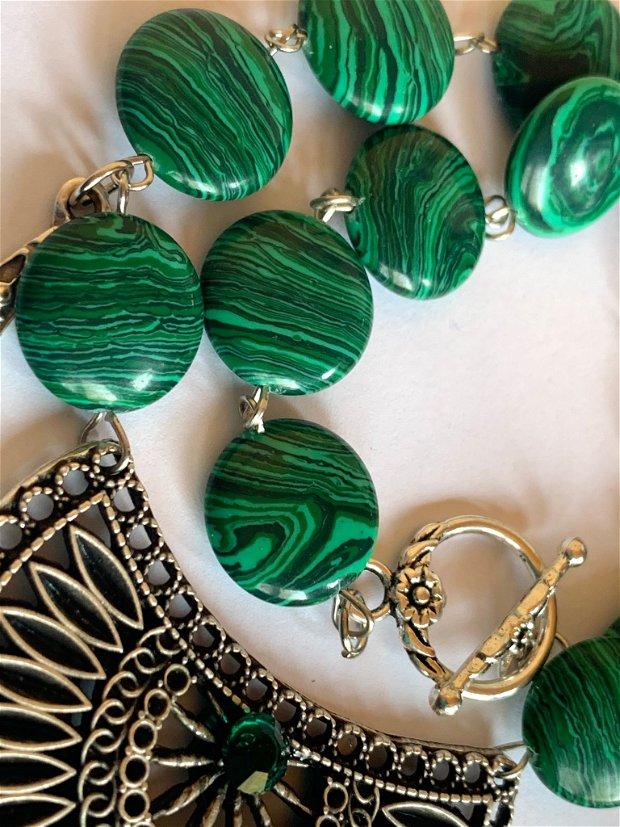 GREEN SPRING-malachit,zamac argintat,inox