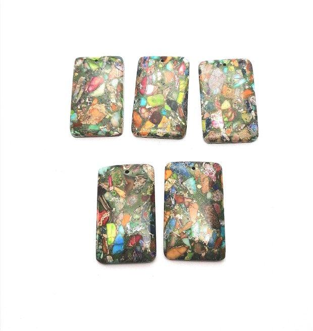 Pandantiv verde dreptunghi compozit / jasp sediment 49~50x30mm