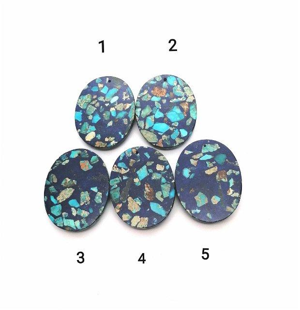 Pandantiv bleumarin oval compozit / jasp sediment 45x35mm