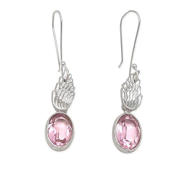 Cercei de autor, atarnatori, în forma de aripi de argint 950, cu cristale Swarovski roz 14x10