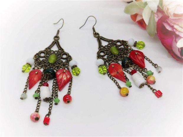 Cercei vara cu frunze de coral si jad