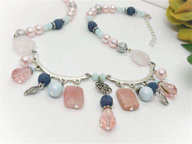 Colier pastel roz  -bleu /swarovski si opal