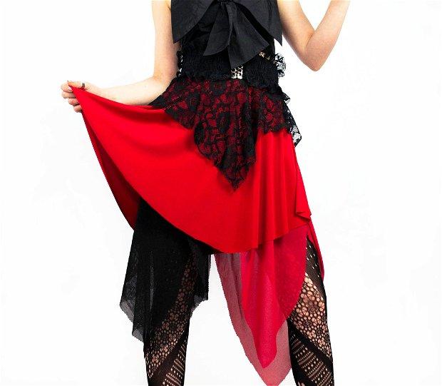 Fusta asimetrica Black&Red