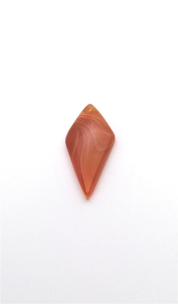 Pandantiv romb caramiziu #1 agata naturala 43x20mm