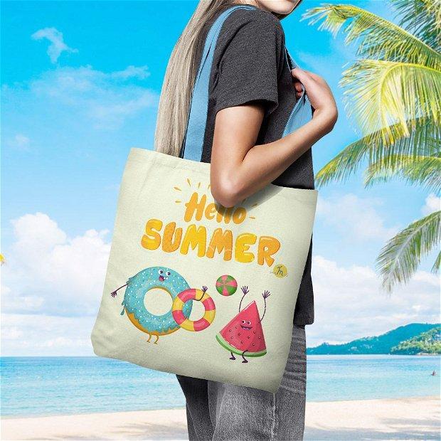 Geanta Handmade de Plaja, Tote Bag Basic Original Mulewear, Hello Summer Vara, Gogoasa si Pepene Rosu, Multicolor, 43x37 cm